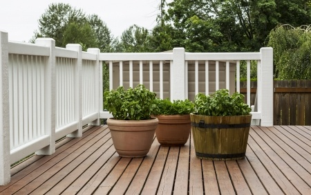Wood deck with plants